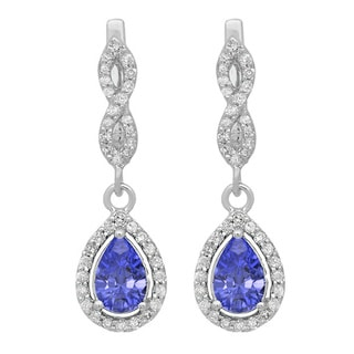 14k Gold 1 1/3ct TW Tanzanite and Round White Diamond Dangling Drop Earrings (I-J, I1-I2)