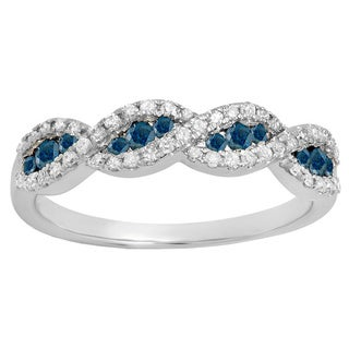 10k Gold 1/3ct TDW Blue and White Diamond Bridal Stackable Wedding Band Swirl Ring (I-J, I2-I3)