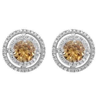 14k White Gold 1 1/6ct TDW Round Champagne and White Diamond Halo Style Stud Earrings (I-J, I1-I2)