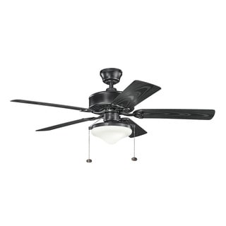 Kichler Lighting Renew Select Patio Collection 52-inch Satin Black Ceiling Fan w/Light