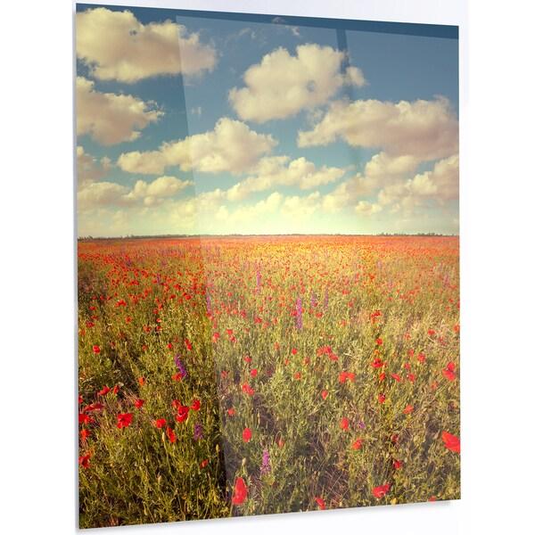 Designart \'Poppy Filed under Bright Sky\' Extra Large Floral Metal ...
