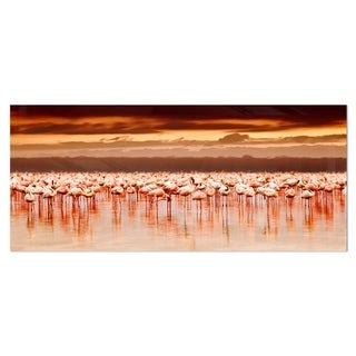 Designart 'African Flamingos View At Sunset' Large Flower Metal Wall Art