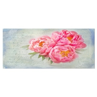 Designart 'Pink Peony Flowers in White Vase' Floral Metal Wall Panel