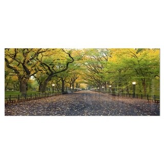 Designart 'The Mall Area in Central Park' Large Landscape Metal Wall Art