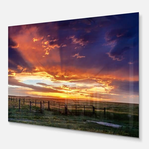 Designart Dramatic Sunset Over Prairie Large Landscape Metal Wall Art Overstock 13821531