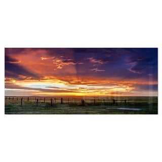 Designart 'Dramatic Sunset over Prairie' Large Landscape Metal Wall Art