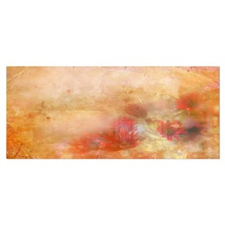 Designart 'Red and Pink Flowers on Brown' Large Floral Metal Wall Art