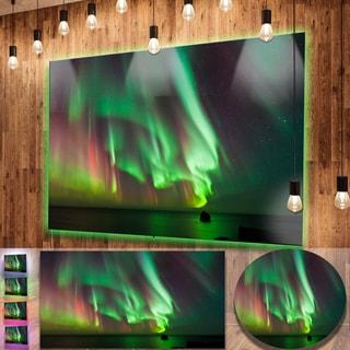 Designart 'Green Northern Lights Aurora' Large Abstract Metal Wall Art