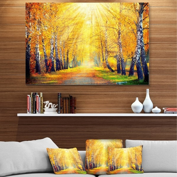 Designart Yellow Autumn Trees In Sunray Large Landscape Art Metal Wall Art Overstock 13821621