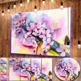 Designart 'Japanese Cherry Blossoms Watercolor' Flower Metal Wall Art