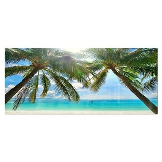 Designart 'Palm Hanging over Sandy White Beach'Ocean Photography on aluminium