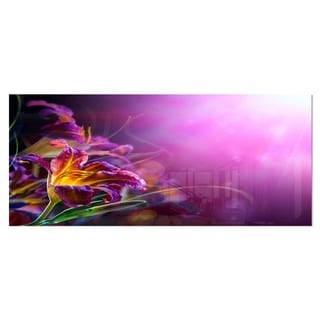 Designart 'Flowers on Purple Background' Floral Metal Wall Decor