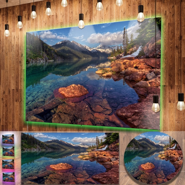 Metal Wall Art Mountain Landscapes : Shop designart clear lake with distant mountains extra