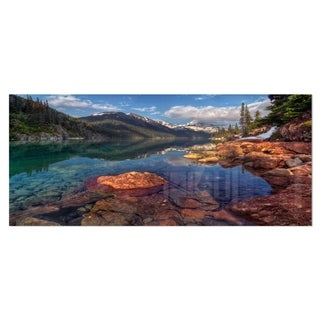 Designart 'Clear Lake with Distant Mountains' Extra Large Landscape Art Metal Wall Art