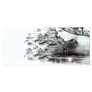 Designart 'Woman and Beauty of Nature' Extra Large Landscape Art Metal Wall Art