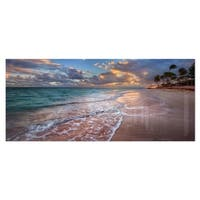 Designart 'Palm Trees on Clear Sandy Beach' Seashore Metal Wall Art