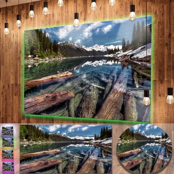 Metal Wall Art Mountain Landscapes : Designart sunken logs n mountain lake extra large