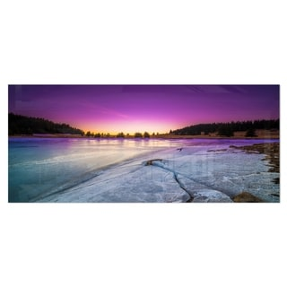 Designart 'Sunrise over Frozen Lake' Landscape Metal Wall Art