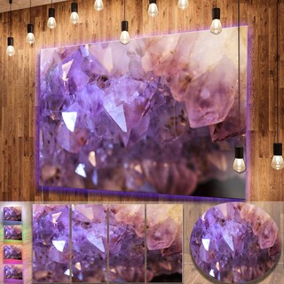 Designart 'Purple White Natural Amethyst Geode' Large Abstract Metal Wall Art