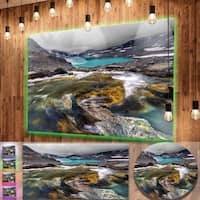Designart 'Mountain Creek Flowing into Lake' Large Landscape Art Metal Wall Art