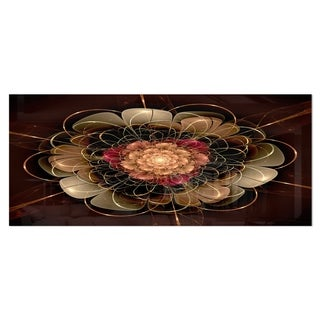 Designart 'Dark Gold Red Fractal Flower Pattern' Extra Large Flower Metal Wall Art