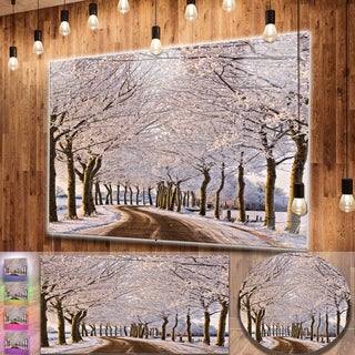 Designart 'Trees And Road in White Winter' Landscape Metal Wall Art