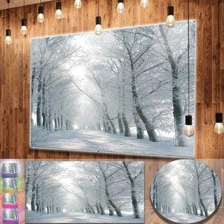 Designart 'Winter Road Backlit my Morning Sun' Modern Forest Metal Wall Art
