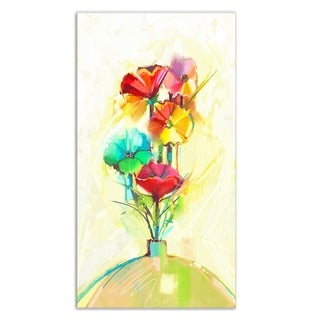 Designart 'Spring Flowers Bouquet in a Vase' Contemporary Floral Metal Wall Art