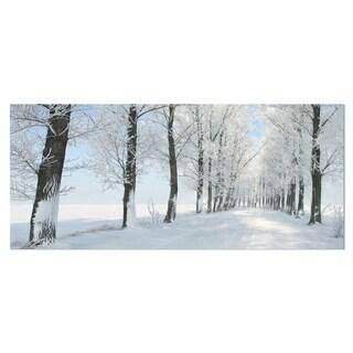Designart 'Beautiful Winter Forest Lane Photo' Large Forest Metal Wall Art