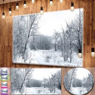 Designart 'Beautiful Winter Panorama' Landscape Metal Wall Art