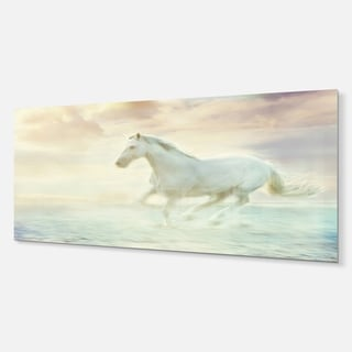 Designart 'Fantasy White Horse' Modern Animal Metal Wall Art