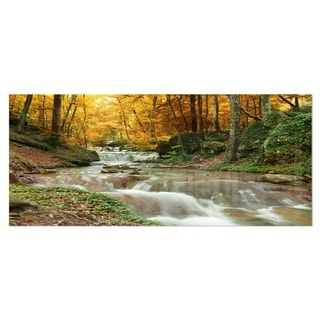 Designart 'Forest Waterfall with Yellow Trees' Landscape Metal Wall Art