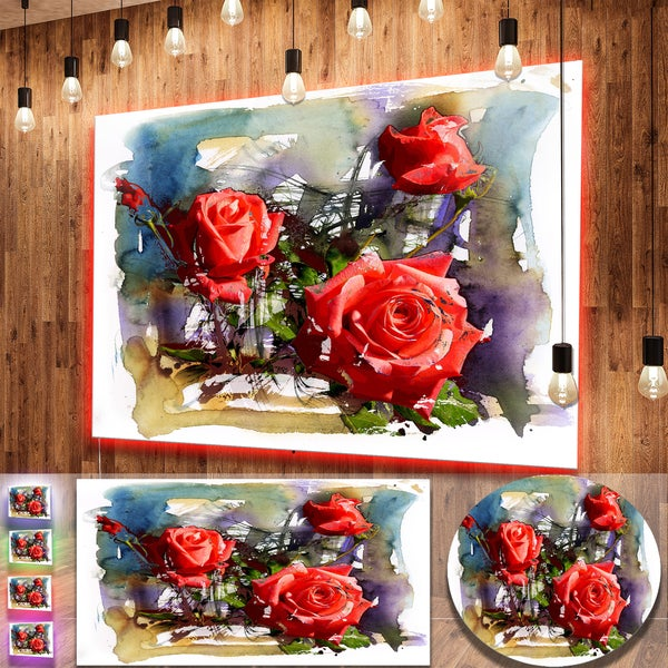 Shop Designart \'Large Red Roses Composition\' Floral Metal Wall Decor ...
