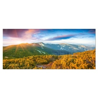 Designart 'Bright Sunrise in Carpathian Mountains' Landscape Metal Wall Art