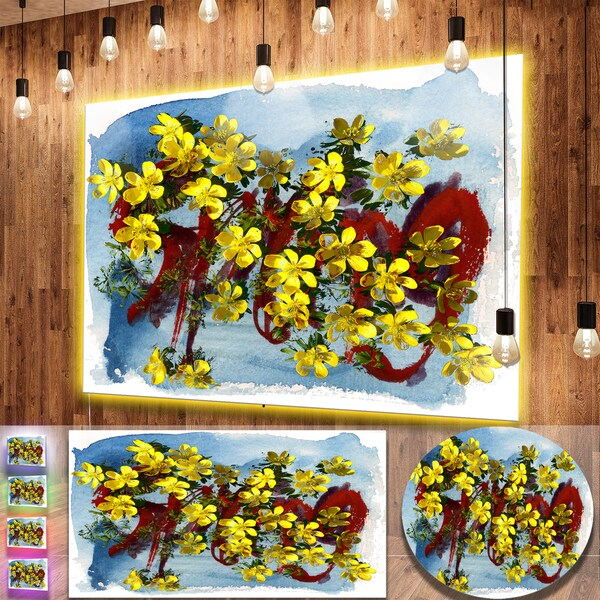 Shop Designart Lettering And Yellow Spring Flowers Floral Metal