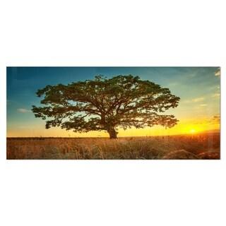 Designart 'Big Green Tree in Summer Field' Photography Trees Metal Wall Art