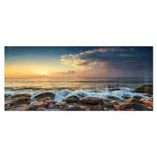 Designart 'Sunrise and Shining Waves in Sea' Large Seashore Metal Wall Art
