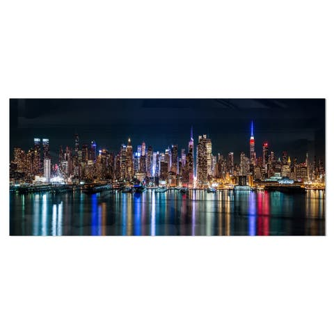 Designart 'New York Midtown Night Panorama' Extra Large Cityscape Metal Wall Art