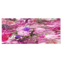 Designart 'Abstract Background with Pink Peony' Extra Large Floral Metal Wall Art