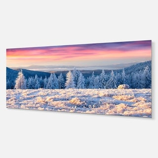 Designart 'Amazing Winter Sunrise in Mountains' Large Landscape Art Metal Wall Art