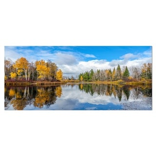 Designart 'Nice Autumn Trees With Forest Lake' Landscape Metal Wall Art