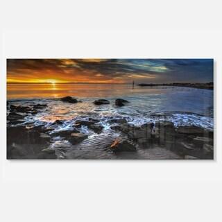Designart 'Sunset over Rocky Ocean Shore' Large Landscape Art Metal Wall Art