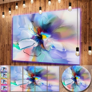 Designart 'Abstract Creative Blue Flower' Extra Large Floral Metal Wall Art