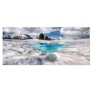 Designart 'Beautiful Snow Covered Lake' Large Landscape Art Metal Wall Art
