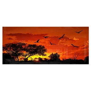 Designart 'African Landscape with Warm Sunset' Extra Large African Landscape Metal Wall Art