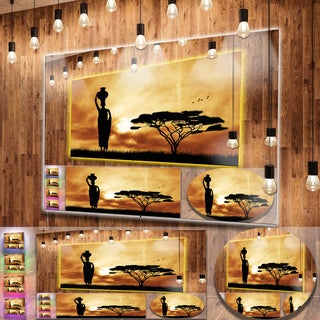 Designart 'African Woman and Lonely Tree' Extra Large African Landscape Metal Wall Art