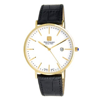 Steinhausen Men's S0521 Classic Burgdorf Swiss Quartz Gold-Tone Watch With Black Leather Band