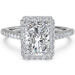 Transcendent Brilliance 18k White Gold Halo Emerald Diamond Engagement Ring 2 1/10 TDW