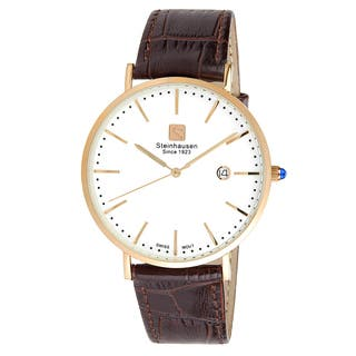 Steinhausen Men's S0522 Classic Burgdorf Swiss Quartz Stainless Steel Watch With Brown Leather Band|https://ak1.ostkcdn.com/images/products/13826493/P20472428.jpg?impolicy=medium