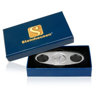 Steinhausen Cigar Cutter SA1901 Stainless Steel Guillotine Double Cut Blade In Gift Box